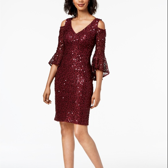 c50a52d831f Nightway Sequined Lace Bell-Sleeve Dress Merlot